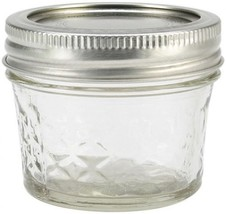 Ball Regular Mouth Quilted Crystal Jelly Jars Glass Lids Canning Storage... - $20.56