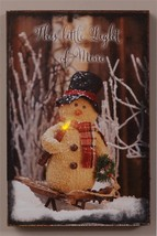 Country new Led Twinkling  SNOWMAN canvas wall print/ This little Light ... - $28.04