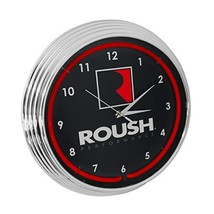 Roush Performance Red Neon Clock 15 Inch Diameter with Chrome Finish Rim... - $85.91