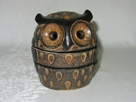 3 Pc Ceramic Art Pottery Incense Burner Owl Bird Figurine Vintage Retro ... - $39.59