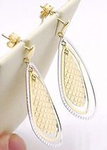 BOUCLES D'OREILLES PENDANTES OR JAUNE BLANC 750 18K,TRIPLE GOUTTE,MADE IN ITALY image 3