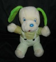 "10"" VINTAGE NANCO WHITE & GREEN SITTING PUPPY DOG STUFFED ANIMAL PLUSH T... - $23.38"