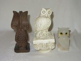 Lot of 3 Vintage Owl Figurines Carved Wood Onyx Stone Plaster on Pedestal - $39.59