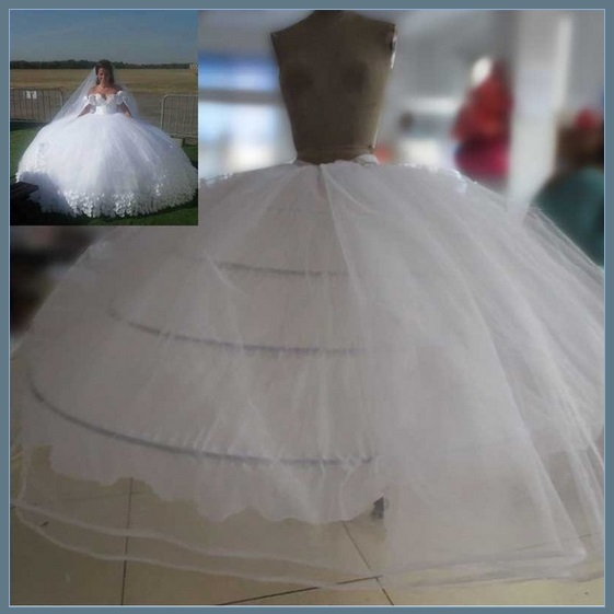 White Bridal Ball Gown Under Skirt 4 Hoops 2 Layers Tulle Puffy Wide Petticoat