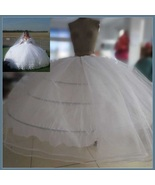 White Bridal Ball Gown Under Skirt 4 Hoops 2 Layers Tulle Puffy Wide Pet... - $158.95