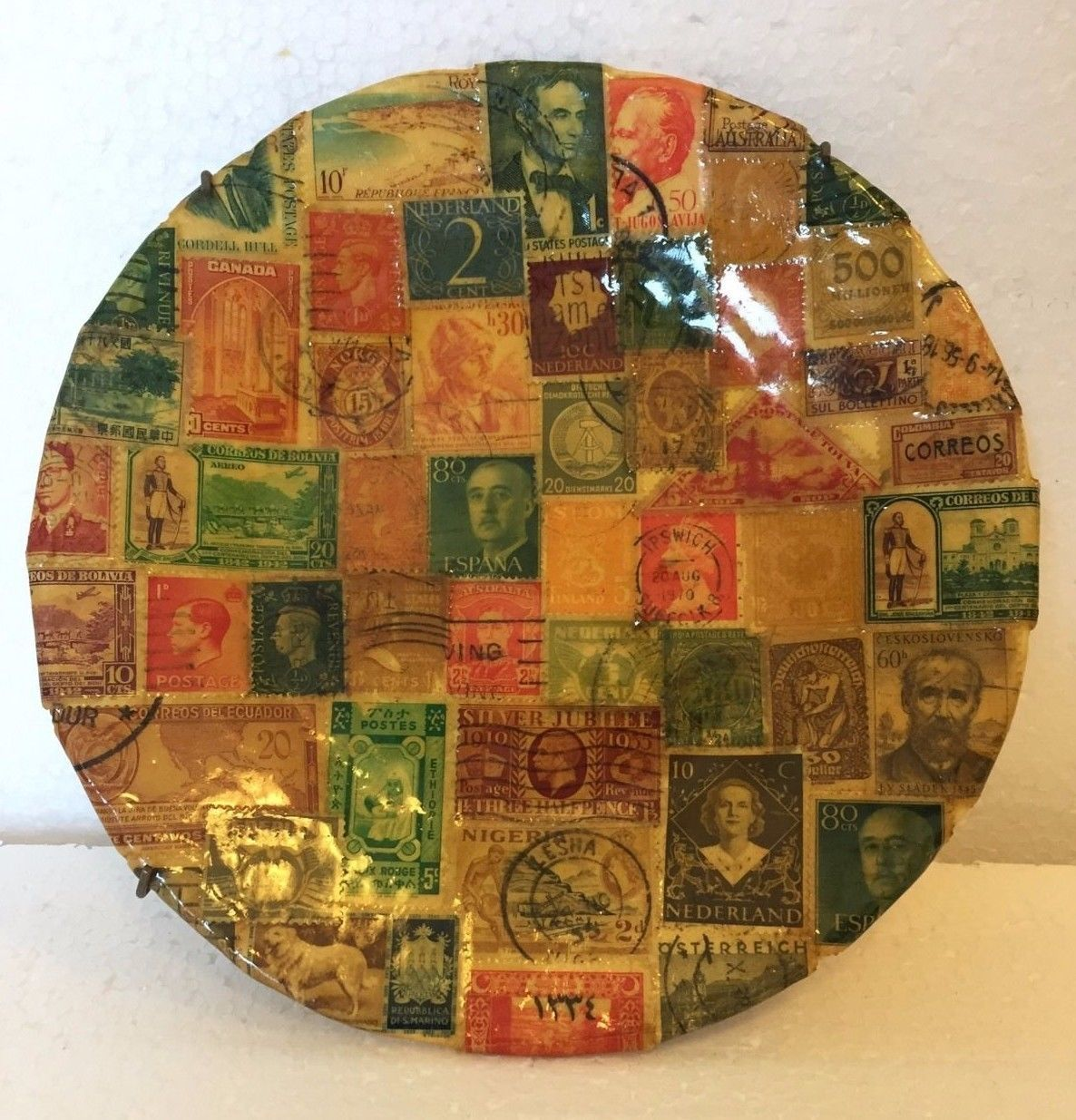 "Primary image for Vintage Handmade International Postage Stamp Decoupage Plate 7"" Signed by Artist"