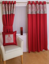 """FAUX SILK EMBROIDERED RED 46X54"""" 117X138CM LINED ANNEAU TOP EYELET CURTAINS - $39.85"""
