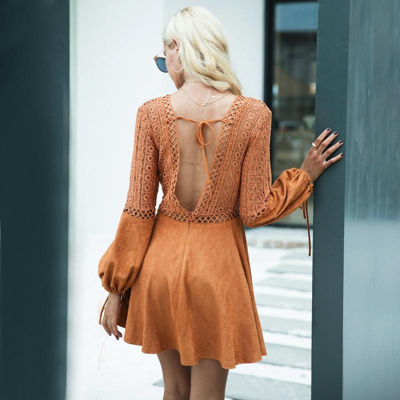 Sexy lace up v neck suede lace dress women Hollow out flare sleeve