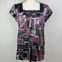 Apt 9 Petite Womens Blouse M Purple Gray Black Geometric Top Career Offi... - $11.99