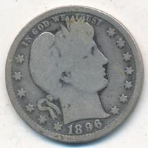 1896-O BARBER SILVER QUARTER-SEMI KEY-NICE CIRCULATED BARBER QUARTER-SHI... - $42.95