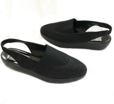 Joan & David Too 6.5 Black Suede Slingback Stacked Heel Handmade Shoes I... - $21.00
