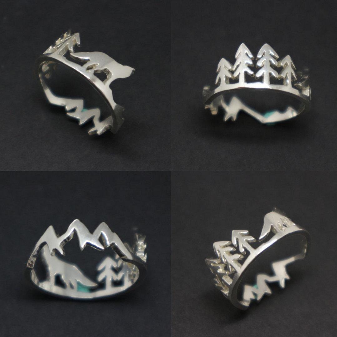 Silver Mountain Pine Tree Wolf Ring