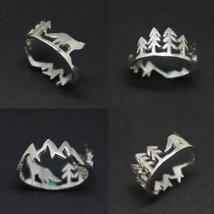Silver Mountain Pine Tree Wolf Ring image 1