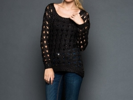 Black Sequin Sweater, Black Sequin Sweaters, Loose Knit Sweater, GeeGee, Womens image 3