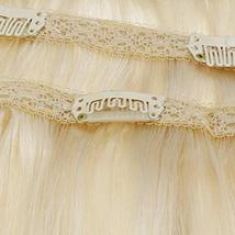 RUNATURE 12 Inches Clip in Human Hair Extensions Color 60 Plaitnum Blonde 50g 3  image 5
