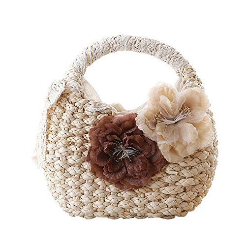 Fashion Vacation Item/Sweet Flower Straw Lace Hand Bag/ Beach Bag