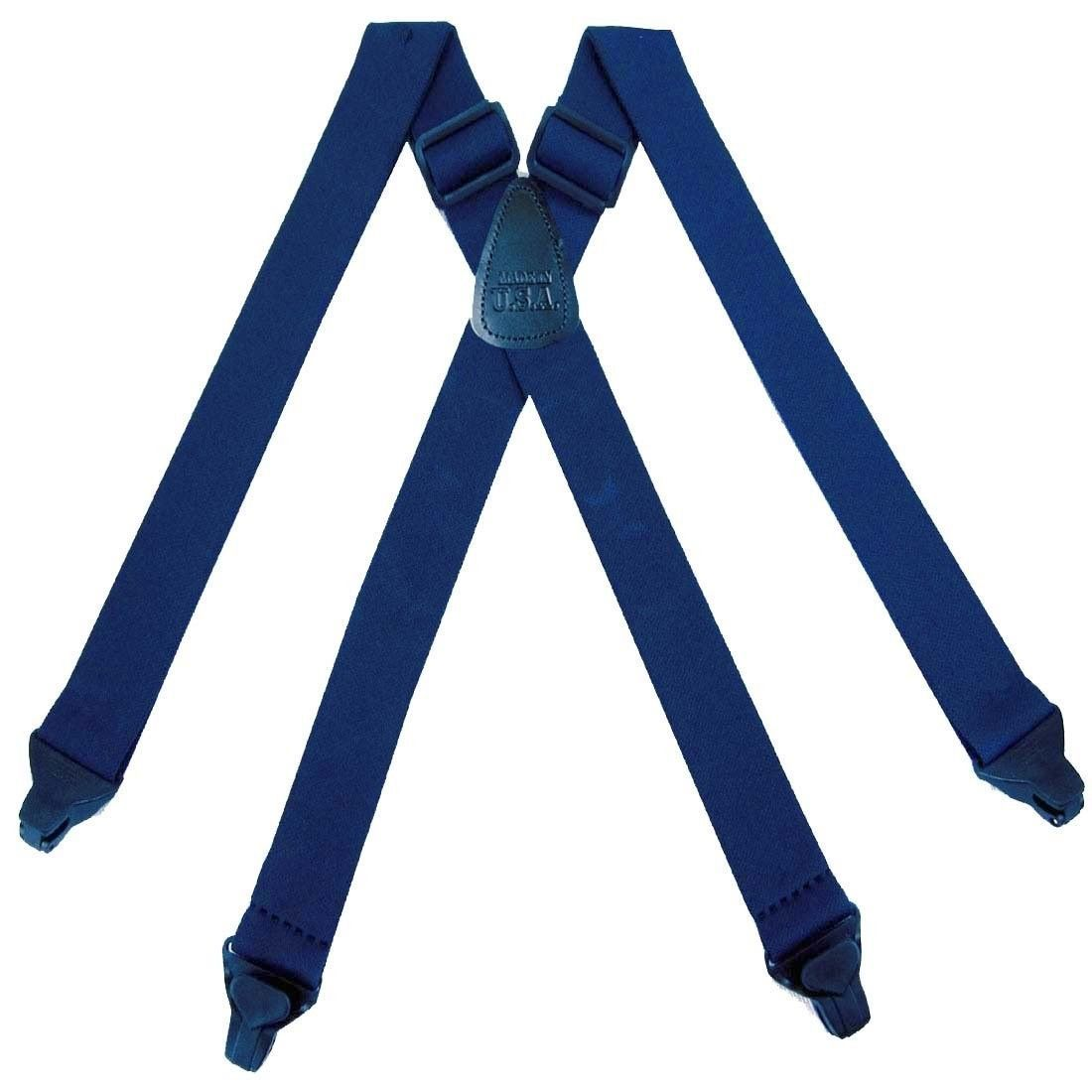 NAVY Airport Friendly Plastic Clip Solid Suspender for Men Made in USA