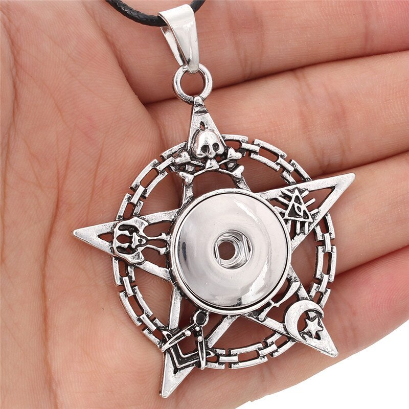 New Styles Metal Star 18mm Snap Button Necklaces & Pendants Snap Jewelry DIY Jew image 6