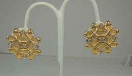 Vintage Chunky Gold Tone & Rhinestone Clip on Earrings - $10.88