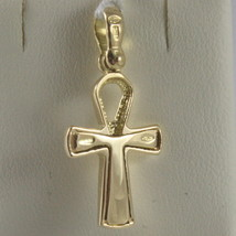 SOLID 18K YELLOW GOLD CROSS, CROSS OF LIFE, ANKH, SHINY, 1.02 INCH MADE IN ITALY image 2