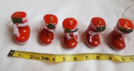 "Lot Of 5 Vintage 2"" hard plastic Santa Boot Ornaments Christmas pre-owne... - $17.81"