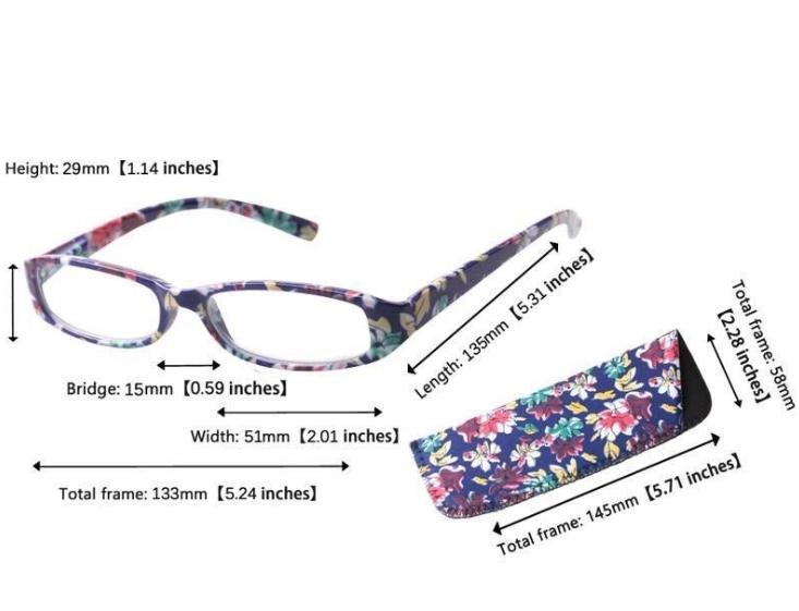 d282c5ec2b6 Reading Glasses Women Square Flower Frame Eyewear Glasses Farsighted  Presbyopic