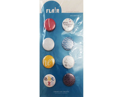"""American Crafts Flair Adhesive Badges """"Exclamation"""" #70025, Set of 8"""