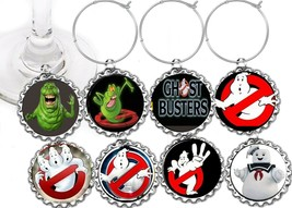 Ghostbusters movie  party theme wine glass cup charms markers 8 party fa... - $9.75