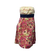 Maeve Anthropologie Pink Yellow Floral Strapless Empire Waist A-line Dre... - $27.47