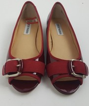 ceb17714c1d Steve Madden Red Patent peep toe buckle slip on flats Womens Sz 6.5 M - £