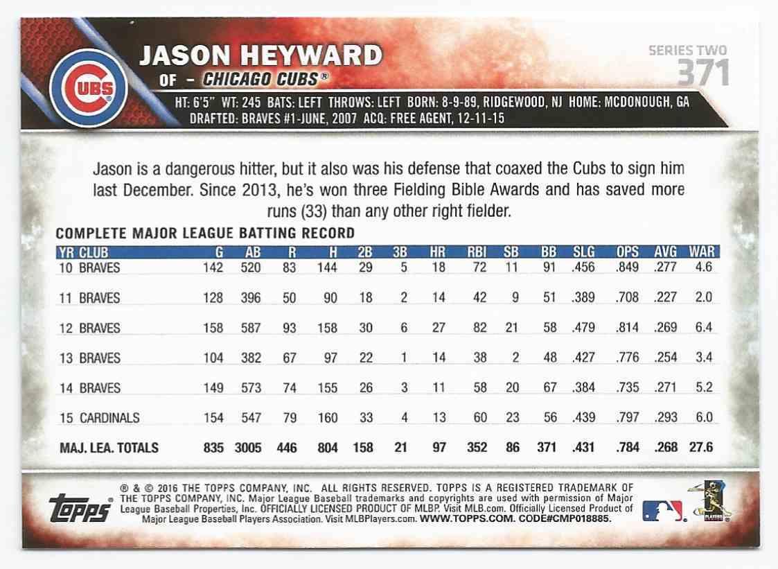 2016 Topps Jason Heyward - Chicago Cubs - Mint #371