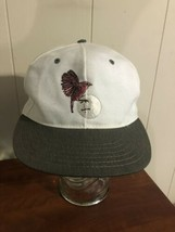 Vintage Spalding Golf Hat Made In USA Strapback Eagle Ball White Gray Ba... - $11.87