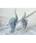 Bermuda Glass Blowing Studio Pair of Raised Trunk Up Elephants Pastel Co... - $47.45