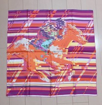 "Hermes Scarf Photo Finish 90 cm Silk Purple horse Carre Shawl Stole 35"" - $356.45"