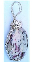 Cotton Candy Serpentine Silver Wire Wrap Pendant 41 - $34.00