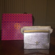 NWOT Tory Burch Robinson Mini Metallic Convertible Shoulder Bag in Silver - $219.37