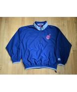 Vintage Starter Chief Wahoo Pullover Jacket Mens 2XL Blue Cleveland Indians MLB - $31.14