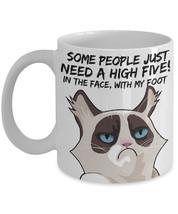 "Grumpy Cat Mug ""Angry Cat Funny Coffee Mug"" Some People Need A High Five In The  - $14.95"