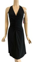 Elie Tahari Black Plunging V-Neck Ruched Stretch Jersey Dress 6 NWT - $198.00