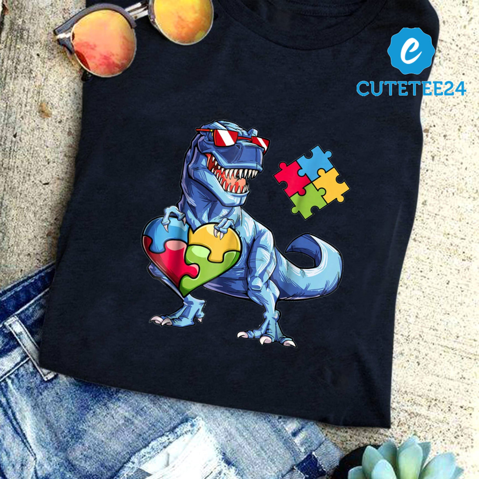 Autism Awareness Dinosaurus Puzzle T-shirt