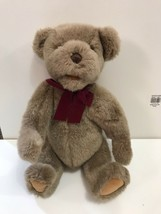 """RARE 15"""" Classic Gund bear doll crier box jointed red velvet bow, paws R... - $22.97"""