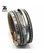 Leather Bracelet Fashion Women Rhinestone Bar Charm Bohemian Female 7 Co... - $5.57