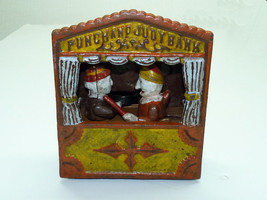 Vintage 1920-30s USA Mechanical Moving Figures Punch and Judy Iron Savin... - $385.00