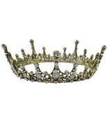 Vintage Baroque Crystal Queen King Crown Bridal Tiaras Hair Ornaments Wo... - $21.85