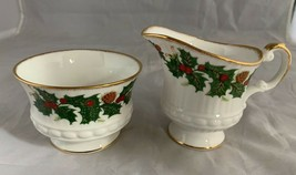 Queens Yuletide Holly Creamer and Sugar Bowl Rosina Fine Bone China England - $24.86