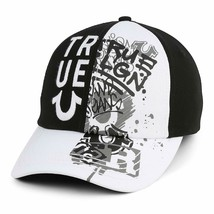 True Religion Men's Embroidered Adjustable Strapback Graffiti Dad Hat Cap Black
