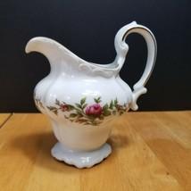 Johann Haviland Moss Rose Creamer White with Pink Roses Bavarian Backstamp - $7.87