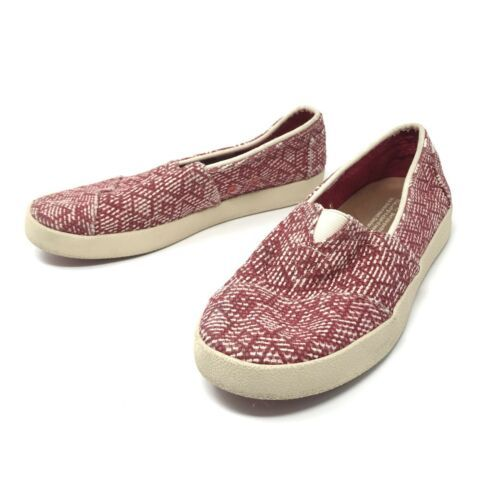 Toms Womens Size 5 Slip On Casual Sneakers Red White Fabric Woven Flats
