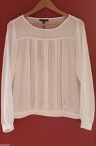NWT Adrianna Papell Elegant Ivory White Long Sleeve Pintuck Blouse Top L $129 - $68.00