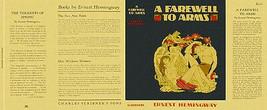 Ernest Hemingway A Adieu aux Armes Facsimile Dust Pochette pour 1st et E... - $21.50